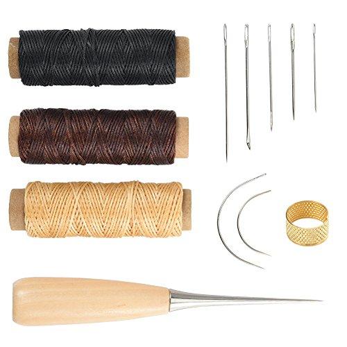 Cizen 12Stück Leder Kunst Nähen Werkzeuge, DIY Hand Nähen Kit für Leder Reparatur, Gebogen Polster Hand Nähen Nadeln mit Leder Gewachst Faden Kabel Bohren Ahle und Fingerhut
