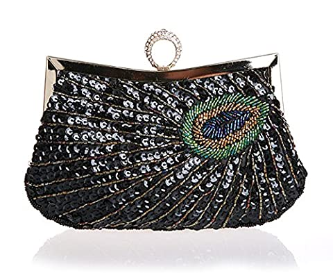 Mme Clutch/motif de paon/Sac anneau de la main de diamant/sac de soirée pailletée/package Banquet/sacs à main de mariée-D
