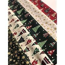 Textiles français de Navidad juego de 100% algodón - 4 x estrellas oro rojo verde