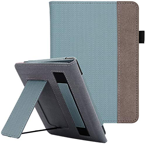 WALNEW Ständer Hülle für Kindle Paperwhite 10. Generation (2018) Magnetische Auto Sleep/Wake Funktion, Cover mit Handriemen Amazon Kindle Paperwhite 10th Gen,Lightblue