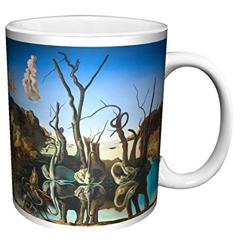 Salvador Dali Swans Reflecting Elephants Fine Surrealist Art Ceramic Gift Coffee (Tea, Cocoa) 11 Oz. Mug by Culturenik - Swans Reflecting Elephants Von Dali