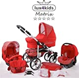 Chilly Kids Matrix II Kinderwagen Komplettset (Autositz & Adapter, Regenschutz, Moskitonetz, Schwenkräder) 46 Rot & Punkte