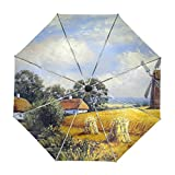 ALAZA Weizenfeld und Dorf-Landschaft Gemälde Regenschirm Reise Auto Öffnen Schließen UV-Schutz-windundurchlässiges Leichtes Regenschirm