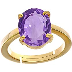 Gemorio Amethyst Katela 8.3cts or 9.25ratti Panchdhatu Adjustable Ring For Women