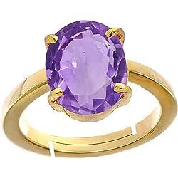 Gemorio Amethyst Katela 8.3cts or 9.25ratti Panchdhatu Adjustable Ring For Women