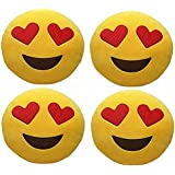 Frantic Premium Quality Soft, Sweet, Heart Eyes And Wink Soft Smiley Cushion Size - 35 Set Of 4