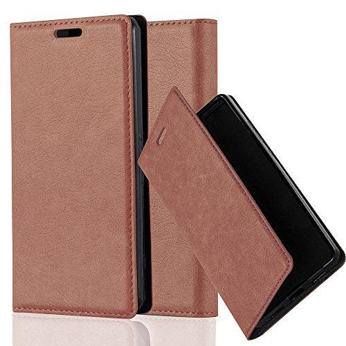 Cadorabo Hülle für Sony Xperia Z1 COMPACT - Hülle in Cappuccino BRAUN – Handyhülle mit Magnetverschluss, Standfunktion und Kartenfach - Case Cover Schutzhülle Etui Tasche Book Klapp Style