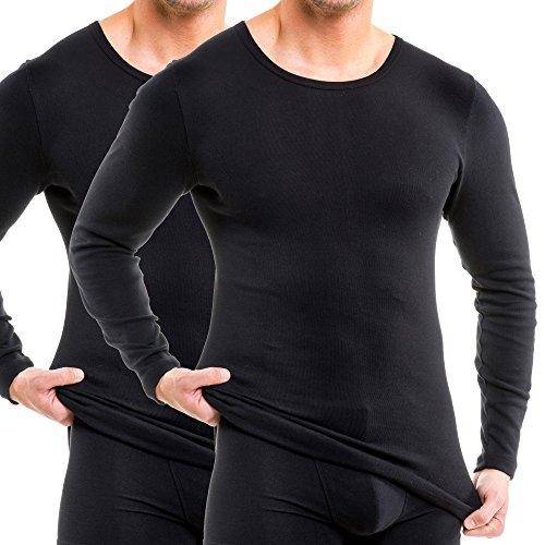 HERMKO 63640 2er Pack Funktionsshirt, langarm, Sportunterhemd für Herren - Funktionsunterwäsche, Farbe:schwarz, Größe:D 6 = EU L