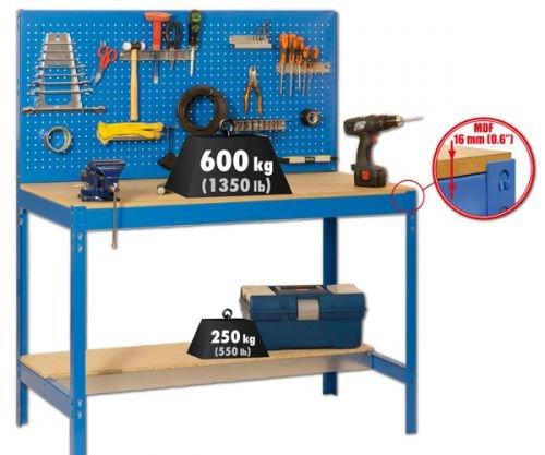Werkbank mit Lochwand - MDF Platte 16mm Traglast 600kg Farbe blau, Größe 144x90x60 cm