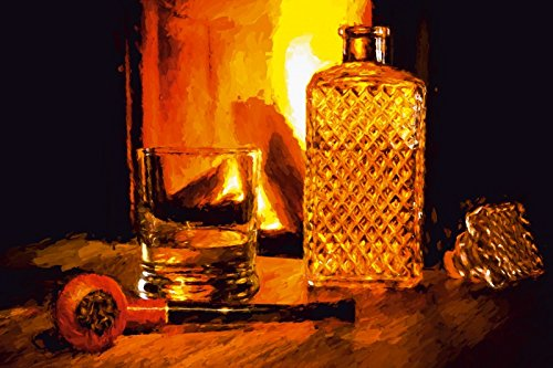 Spirituosen-kunst-plakat (Artland Wandbilder selbstklebend aus Vliesstoff oder Vinyl-Folie Hubertus Kahl Tabakpfeife und Whisky Ernährung & Genuss Zigarren Illustration Rot C7VO)