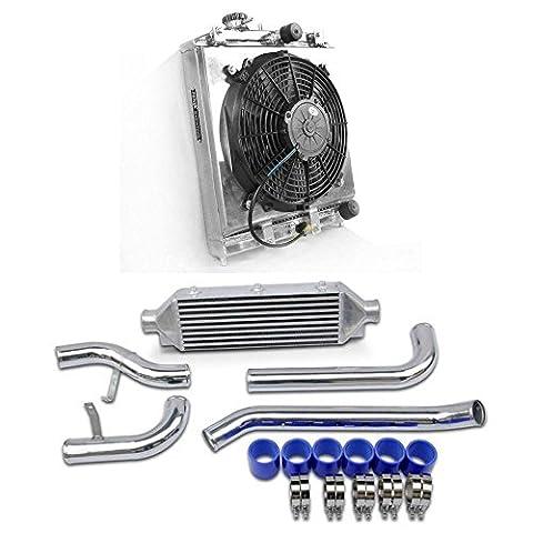 Supeedmotor Radiador de aluminio - cubierta de ventilador - Intercooler Kit