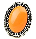 Inception Pro Infinite Anillo con Piedra de Color Estilo Retro Vintage IT Ajustable - Piedra Naranja (ES 22)