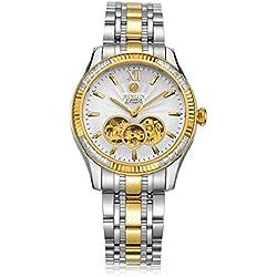 binlun Business Man 18K-gold vergoldet 21Jewel Japanische Automatische Mechaniker Saphirglas Skelett Metall Uhren