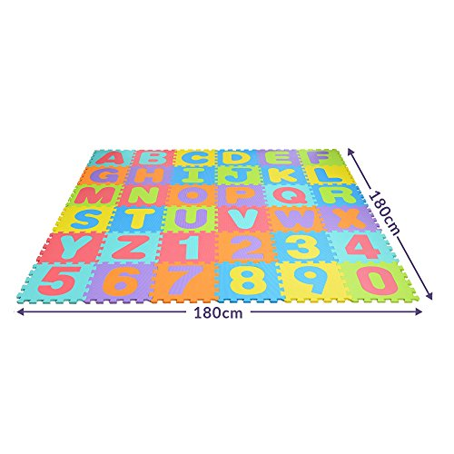 Trendario Puzzlematte / Spielmatte mit 86 Teilen / Baby und Kinder Spielzeug Teppich Matte / Puzzle Schaumstoffmatte mit Zahlen und Buchstaben / Kinderzimmer Puzzlematte