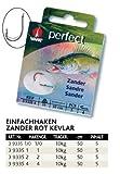 VMC Perfect Zander Einfachhaken Rot Kevlarvorfach Einzelhaken Zanderhaken, Hakengröße:1/0
