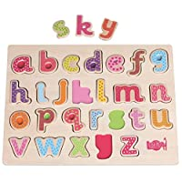 LELIN 0003978 Children Kids Wooden Lowercase Alphabet Learning Creative Toy Letters Puzzle Board, Multicoloured