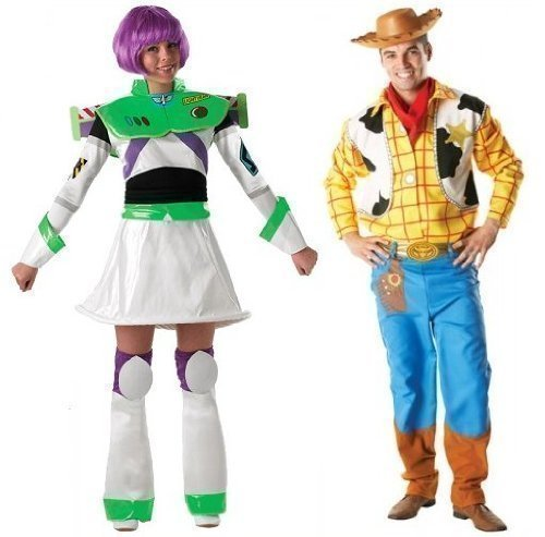 Herren Damen Paar Disney Woody & Buzz Lightyear Toy Story büchertag passend Halloween Kostüm Verkleidung Outfit - Multi, Multi, Ladies 12-14 & Mens STD (Toy Story Halloween-kostüme)