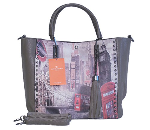 Borsa donna David Jones in ecopelle modello shopper stampa Londra - taupe