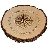 Baumscheibe - Kompass mit Personalisierung (Als sich unsere Wege trafen, 25 cm): personalisierte Holzscheibe mit Namen und Datum – Echtholz Wanddeko samt Rinde – persönliche Hochzeitsgeschenke für Brautpaar