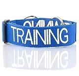 ABRICHTUNG Blau Nylon breiter großer L-XL Semi-Choke Hundehalsband (Bitte nicht stören) verhindert Unfälle durch Warn Sonstige Your Dog im Voraus