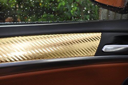 12 pz. Oro in carbonio assetto colori film in 3D Situato a 100 micron di spessore, pannelli delle portiere, consolle centrale, posacenere adatto per il vostro veicolo