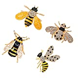 D DOLITY 4 Stücke Honigbiene form Brosche Hochzeit Brautstrauß Kristall Strass Insekt Brosche