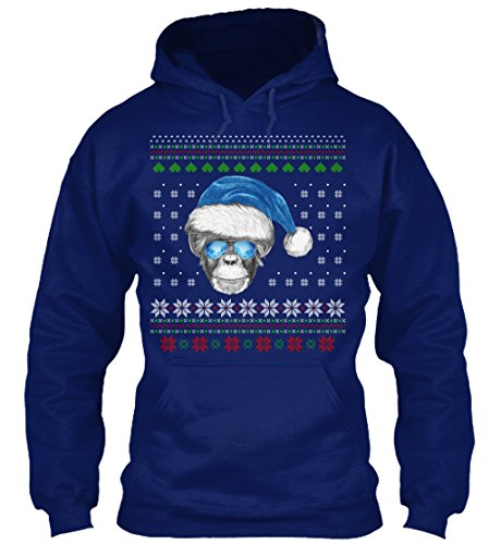 Affen-onkel (Bequemer Hoodie Damen / Herren / Unisex XL Merry Christmas With Monkey Sweatshirt Marineblau)