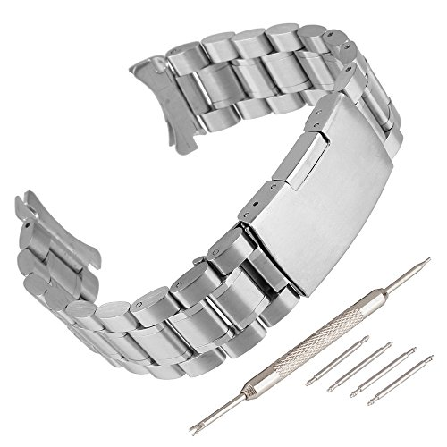 Beauty7 Bracelet du Montre 16mm/18mm/20mm/22mm/24mm Bande du Montre Pour Cadran Rond Boucle Deployante en Acier Remplacement Bande de Poignet Etanche Argente Homme Femme