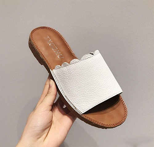 Sommer-Sandalen und Pantoffeln Sandalen Frauen Mode Lederschuhe bequeme flache Sandalen Toe White