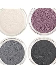 Honeypie Minerals Mineral Eyeshadow - Purple Smoke Collection Set (4 x 1g) Smokey Black, Charcoal Grey, Purple Plum and Pearlescent