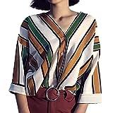 T shirt Blau Weiß Gestreift, Manadlian Mode Frauen Lässig Streifen Knopf Oberteile T-Shirt Oberteile Ärmel Bluse (Small, Gelb)