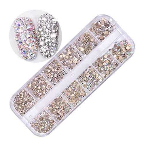 Nagelkristall AB und Nagelkristalle, Nail Art Strass Runde Perlen Flatback Glas Charms Edelsteine für Nägel Dekoration Basteln Augen Make-up Handy (Handwerk-perlen Masse In Der)