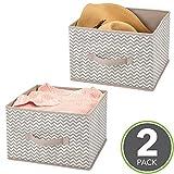 mDesign Set da 2 scatole per armadi sempre in ordine – Ceste portaoggetti bagno o semplici contenitori salvaspazio in tessuto per vestiti, coperte, accessori e molto altro ancora – Grigio talpa/ecru
