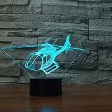 Orangeww 3d Illusion Lampe/Led Nachtlicht / 3d Visuelle Illusion Lampe / 7 Farben Led Nachtlicht/Weihnachtsdekor/Helicopt