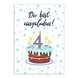 16 Einladungskarten zum 4. Kindergeburtstag - Blau - für Jungen/Jungs, Geburtstagseinladungen im Set