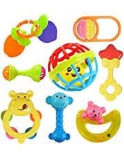 WISHKEY Colourful Plastic Non Toxic Set of 8 Teether and Rattle for New Borns and Infants