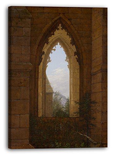 Printed Paintings Leinwand: Carl Gustav Carus – Gotische Fenster in Den Ruinen des Klosters Bei O