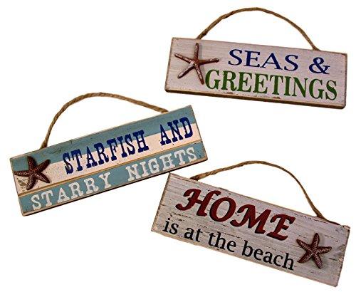 Capes Treasures Weihnachten Nautisches Ornament Seestern Schilder-Set von 3 -