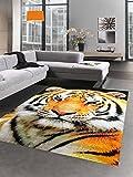 Designer Teppich Kurzflortteppich Tiger Motiv orange creme schwarz Größe 60x110 cm