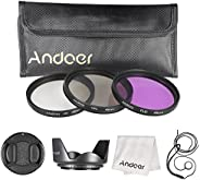 Andoer 49mm Filter Kit (UV+CPL+FLD) + Nylon Carry Pouch + Lens Cap + Lens Cap Holder + Lens Hood + Lens Cleani