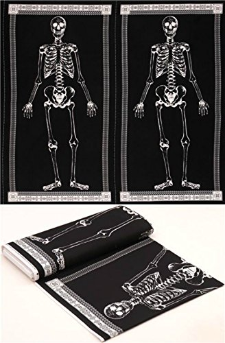 Glow in the Dark Skelett Panel Halloween Stoff Timeless Treasures – 24 x 44 schwarz weiß Stoff (von der Platte) (Glow In The Dark-panel)