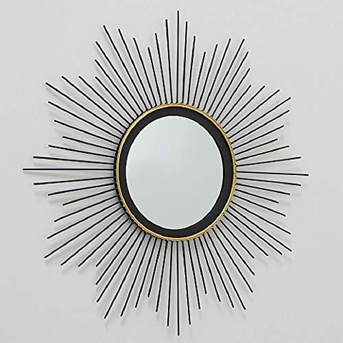 CasaJame Hogar Muebles Decoración Espejo de Pared en Forma de Sol Estilo Étnico Moderno Hierro Negro...