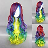 Women's Wig Cosplay Wig (Red Blue Green Yellow Curly 70cm