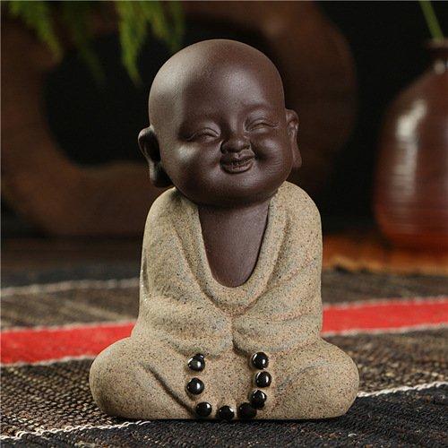 Lucky House Buddha Statuen kleine Mönch Farbe Sand Keramik Home Club geomantische Dekoration lila Sand Figuren Tee Haustier (hellgelb) -