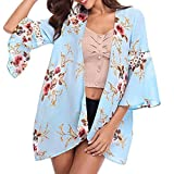 MRULIC Damen Florale Kimono Cardigan Boho Chiffon Sommerkleid Beach Cover up Leicht Tuch für die Sommermonate am Strand Oder See (2XL, X-Blau)