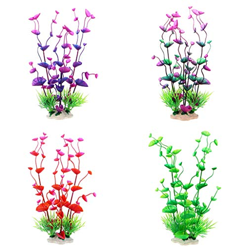 DEESEE(TM) Aquarium-Pflanzen, Kunststoff, bunt, dekorativ, sicher, 4 Stück