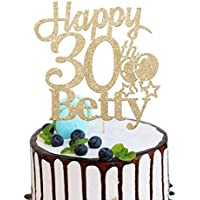 Personalised Name and Age Birthday Cake Topper. Happy Birthday Cake Topper. 18th, 21st, 30th, 40th, 50th, 60th Cake Topper. 400 Gram Non-shed Double Sided Glitter Cake Decoration | 5 Colours