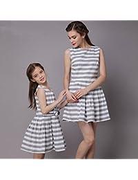 ZY Gris a rayas a finas-madre e hija vestidos. verano moda algodón entre padres e hijos vestidos. Europa y el vestido de madre e hija , m