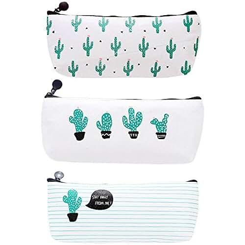 material para la escuela kawaii Cosanter 3PCS Bolsa para Lápices de lona del Estuche Escolar Patrón de Cactus Para Los Estudiantes y Empleado de Oficina