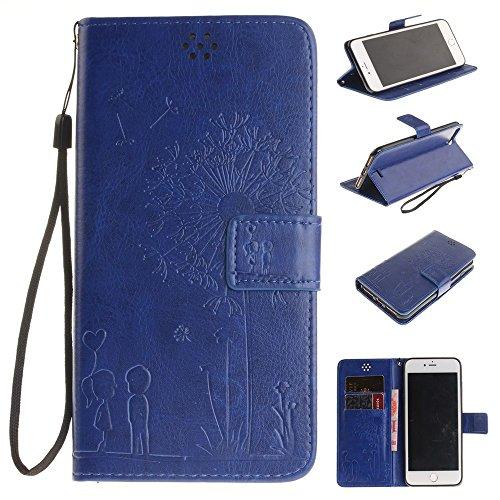 Premium PU Ledertasche, Embossed Blumen Löwenzahn Liebhaber Wallet Stand Case mit Handschlaufe für IPhone 7 Plus ( Color : Blue , Size : IPhone 7 Plus ) Blue